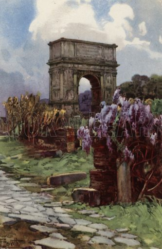 Arco di Tito. Illustration for Ricordo di Roma (Scrocchi, c 1910).  Signatures on pictures illegible.