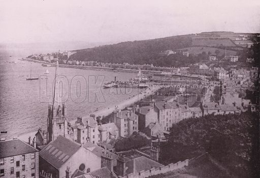 Rothesay from Chapel Hill.  Illustration for Photographic View Album of Rothesay and Vicinity, Island of Bute (Hector Mackinnon, c 1895). Gravure printed.