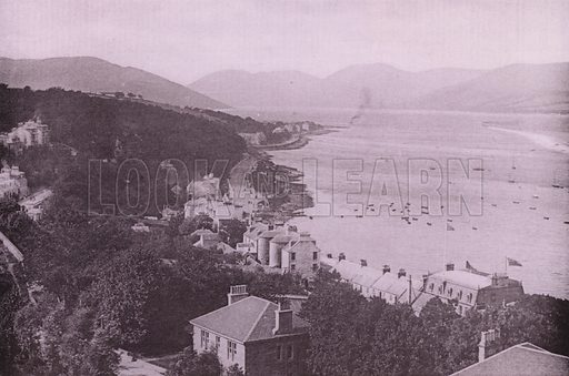 Ardbeg and the Cowal Hills. Illustration for Photographic View Album of Rothesay and Vicinity, Island of Bute (Hector Mackinnon, c 1895).  Gravure printed.