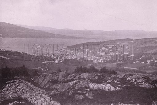 Rothesay from Barone Hill. Illustration for Photographic View Album of Rothesay and Vicinity, Island of Bute (Hector Mackinnon, c 1895).  Gravure printed.
