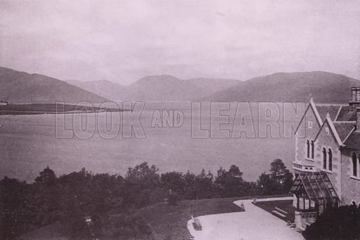 Loch Striven from Kyles of Bute Hydropathic. Illustration for Photographic View Album of Rothesay and Vicinity, Island of Bute (Hector Mackinnon, c 1895).  Gravure printed.