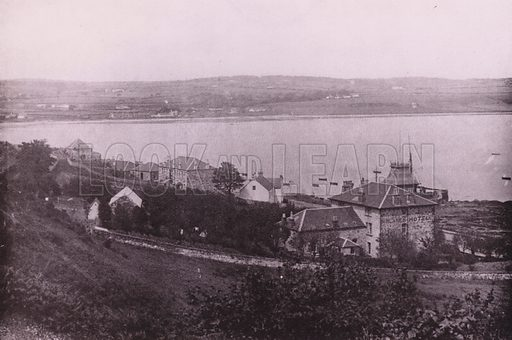 Kilchattan Bay. Illustration for Photographic View Album of Rothesay and Vicinity, Island of Bute (Hector Mackinnon, c 1895).  Gravure printed.