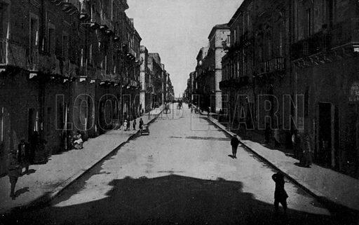 Taranto, Via Anfiteatro. Illustration for Ricordo di Taranto (Giovanni Rimini, c 1900).  Only suitable for repro at small size.