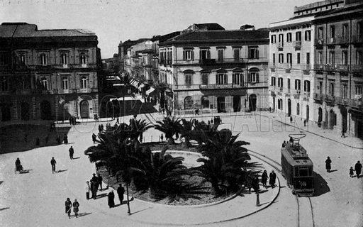 Taranto, Piazza Giordano Bruno. Illustration for Ricordo di Taranto (Giovanni Rimini, c 1900).  Only suitable for repro at small size.