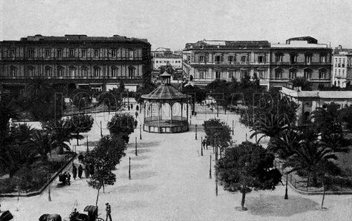 Taranto, Villa Garibaldi e Cassa armonica. Illustration for Ricordo di Taranto (Giovanni Rimini, c 1900).  Only suitable for repro at small size.
