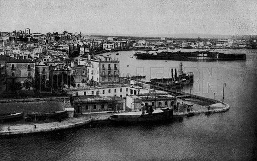 Taranto, Panorama Citta vecchia. Illustration for Ricordo di Taranto (Giovanni Rimini, c 1900).  Only suitable for repro at small size.