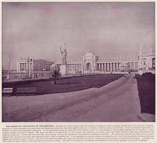 The Peristyle and Statue of the Republic. Illustration for The Magic City, a Massive Portfolio of Original Photographic Views of the Great World's Fair edited by J W Buel (Historical Publishing, 1894).