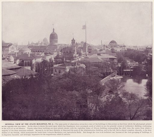 General View of State Buildings, No 2. Illustration for The Magic City, a Massive Portfolio of Original Photographic Views of the Great World's Fair edited by J W Buel (Historical Publishing, 1894).