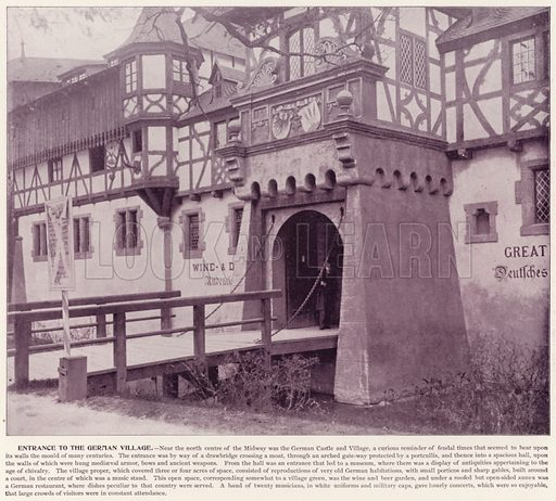 Entrance to the German Village. Illustration for The Magic City, a Massive Portfolio of Original Photographic Views of the Great World's Fair edited by J W Buel (Historical Publishing, 1894).