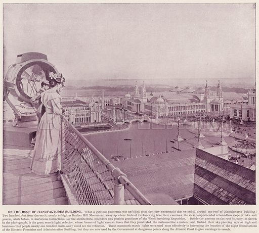 On the Roof of Manufactures Building. Illustration for The Magic City, a Massive Portfolio of Original Photographic Views of the Great World's Fair edited by J W Buel (Historical Publishing, 1894).