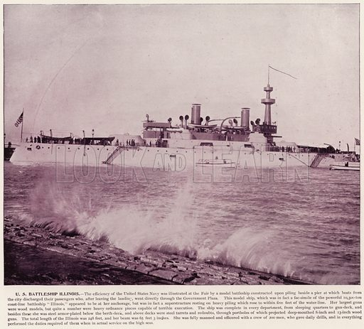 US Battleship Illinois. Illustration for The Magic City, a Massive Portfolio of Original Photographic Views of the Great World's Fair edited by J W Buel (Historical Publishing, 1894).