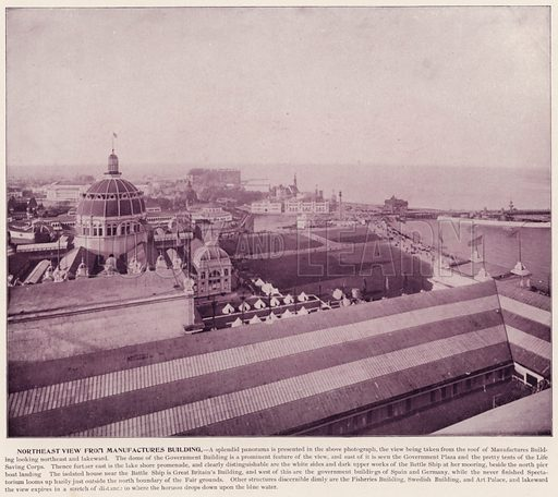 Northeast View from Manufactures Building. Illustration for The Magic City, a Massive Portfolio of Original Photographic Views of the Great World's Fair edited by J W Buel (Historical Publishing, 1894).