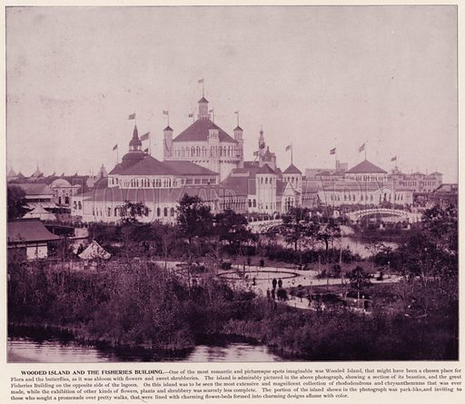 Wooden Island and the Fisheries Building. Illustration for The Magic City, a Massive Portfolio of Original Photographic Views of the Great World's Fair edited by J W Buel (Historical Publishing, 1894).