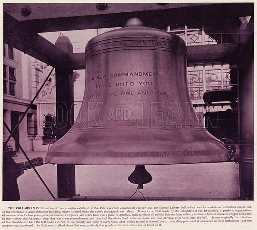 The Columbian Bell. Illustration for The Magic City, a Massive Portfolio of Original Photographic Views of the Great World's Fair edited by J W Buel (Historical Publishing, 1894).