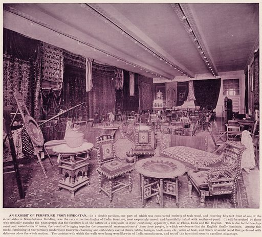 An Exhibit of Furniture from Hindostan. Illustration for The Magic City, a Massive Portfolio of Original Photographic Views of the Great World's Fair edited by J W Buel (Historical Publishing, 1894).