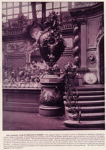 The Majolica Vase in Germany's Exhibit. Illustration for The Magic City, a Massive Portfolio of Original Photographic Views of the Great World's Fair edited by J W Buel (Historical Publishing, 1894).