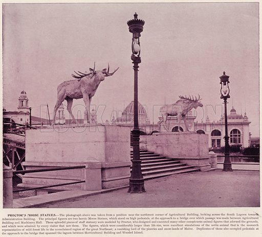 Proctor's Moose Statues. Illustration for The Magic City, a Massive Portfolio of Original Photographic Views of the Great World's Fair edited by J W Buel (Historical Publishing, 1894).