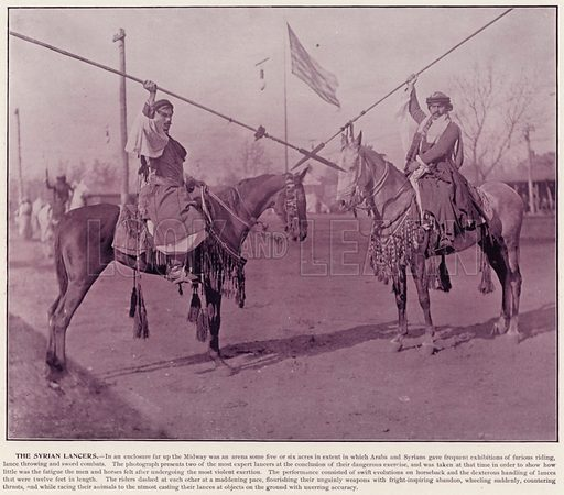 The Syrian Lancers. Illustration for The Magic City, a Massive Portfolio of Original Photographic Views of the Great World's Fair edited by J W Buel (Historical Publishing, 1894).