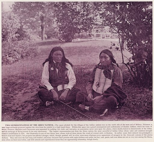Two Representatives of the Sioux Nations. Illustration for The Magic City, a Massive Portfolio of Original Photographic Views of the Great World