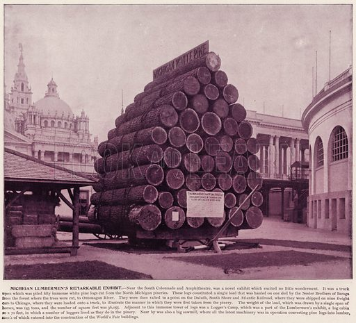Michigan Lumbermen's Remarkable Exhibit. Illustration for The Magic City, a Massive Portfolio of Original Photographic Views of the Great World's Fair edited by J W Buel (Historical Publishing, 1894).