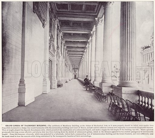 Grand Loggia of Machinery Building. Illustration for The Magic City, a Massive Portfolio of Original Photographic Views of the Great World's Fair edited by J W Buel (Historical Publishing, 1894).