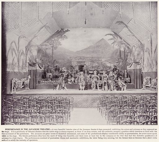 Performance in the Javanese Theatre. Illustration for The Magic City, a Massive Portfolio of Original Photographic Views of the Great World's Fair edited by J W Buel (Historical Publishing, 1894).