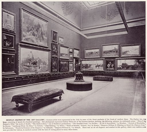 German Section of the Art Gallery. Illustration for The Magic City, a Massive Portfolio of Original Photographic Views of the Great World