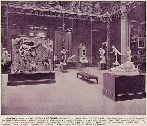 North Court of United States Sculpture Exhibit. Illustration for The Magic City, a Massive Portfolio of Original Photographic Views of the Great World