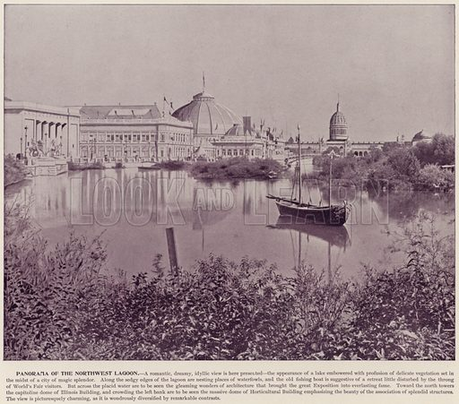 Panorama of the Northwest Lagoon. Illustration for The Magic City, a Massive Portfolio of Original Photographic Views of the Great World's Fair edited by J W Buel (Historical Publishing, 1894).