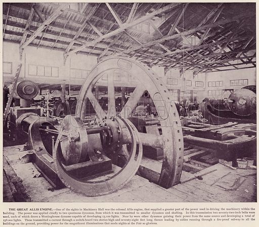 The Great Allis Engine. Illustration for The Magic City, a Massive Portfolio of Original Photographic Views of the Great World's Fair edited by J W Buel (Historical Publishing, 1894).