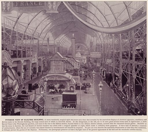 Interior View of Electric Building. Illustration for The Magic City, a Massive Portfolio of Original Photographic Views of the Great World's Fair edited by J W Buel (Historical Publishing, 1894).