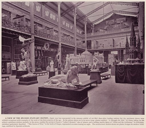 A View of the Spanish Statuary Section. Illustration for The Magic City, a Massive Portfolio of Original Photographic Views of the Great World's Fair edited by J W Buel (Historical Publishing, 1894).