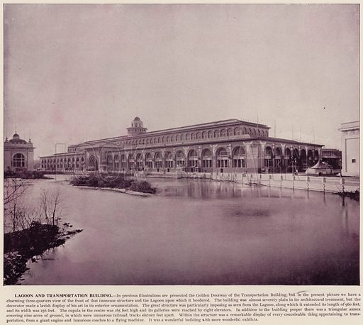 Lagoon and Transportation Building. Illustration for The Magic City, a Massive Portfolio of Original Photographic Views of the Great World's Fair edited by J W Buel (Historical Publishing, 1894).