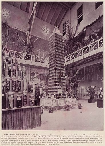 Santa Barbara's Exhibit of Olive Oil. Illustration for The Magic City, a Massive Portfolio of Original Photographic Views of the Great World's Fair edited by J W Buel (Historical Publishing, 1894).