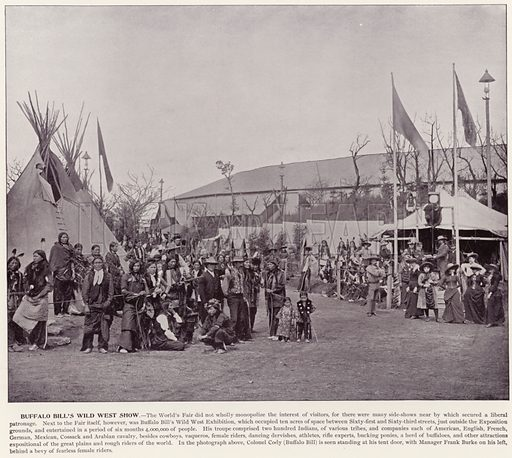 Buffalo Bill's Wild West Show. Illustration for The Magic City, a Massive Portfolio of Original Photographic Views of the Great World's Fair edited by J W Buel (Historical Publishing, 1894).