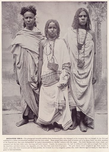 Soudanese Girls. Illustration for The Magic City, a Massive Portfolio of Original Photographic Views of the Great World's Fair edited by J W Buel (Historical Publishing, 1894).