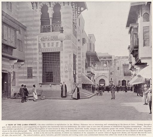 A View of the Cairo Street. Illustration for The Magic City, a Massive Portfolio of Original Photographic Views of the Great World's Fair edited by J W Buel (Historical Publishing, 1894).
