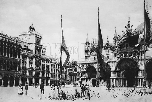 Venezia, Torre dell'Orologio e Chiesa S Marco. Illustration for Ricordo di Venezia (np, c 1900). Gravure printed.