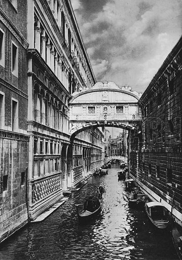 Venezia, Ponte dei Sospiri. Illustration for Ricordo di Venezia (np, c 1900).  Gravure printed.