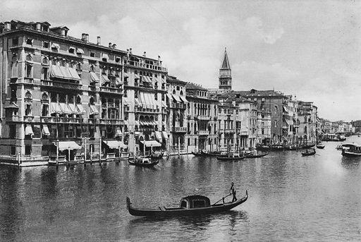Venezia, Canal Grande e Alberghi. Illustration for Ricordo di Venezia (np, c 1900).  Gravure printed.