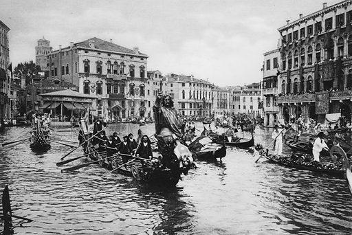 Venezia, Canal Grande in festa. Illustration for Ricordo di Venezia (np, c 1900).  Gravure printed.