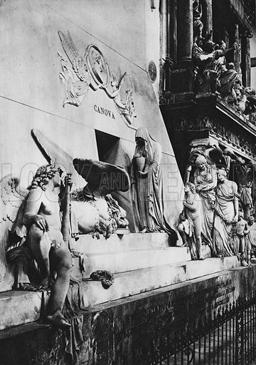 Venezia, Monumento a Canova. Illustration for Ricordo di Venezia (np, c 1900).  Gravure printed.