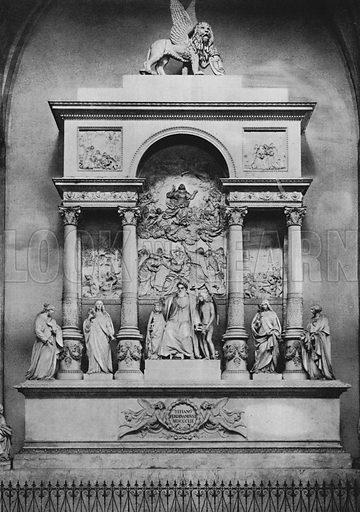 Venezia, Monumento a Tiziano Vecellio. Illustration for Ricordo di Venezia (np, c 1900).  Gravure printed.