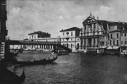 Venezia, Chiesa dei Gesuiti e Stazione Ferroviaria. Illustration for Ricordo di Venezia (np, c 1900).  Gravure printed.