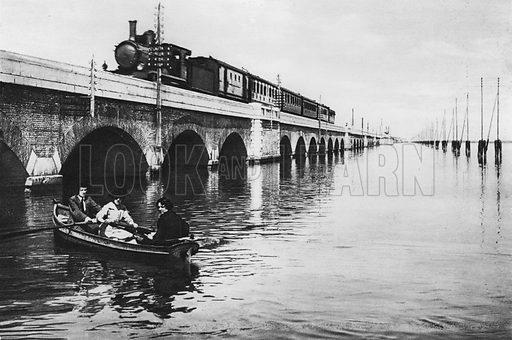 Venezia, Ponte della Ferrovia. Illustration for Ricordo di Venezia (np, c 1900).  Gravure printed.
