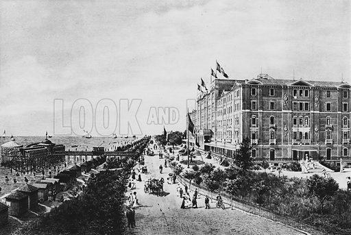 Venezia, Lido, Grand Hotel des Bains. Illustration for Ricordo di Venezia (np, c 1900).  Gravure printed.
