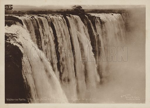 Victoria Falls, The Rainbow Fall from Livingstone Island. Illustration for Souvenir of The Victoria Falls by Percy M Clark with photographs by the author (c 1910),  Percy M Clark's autobiography was published in 1936.