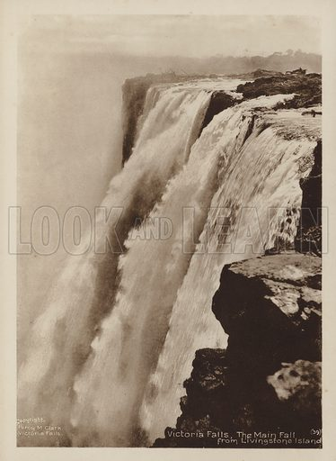 Victoria Falls, The Main Fall from Livingstone Island. Illustration for Souvenir of The Victoria Falls by Percy M Clark with photographs by the author (c 1910),  Percy M Clark