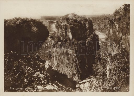 The Gorge from the Hotel, Victoria Falls. Illustration for Souvenir of The Victoria Falls by Percy M Clark with photographs by the author (c 1910),  Percy M Clark's autobiography was published in 1936.