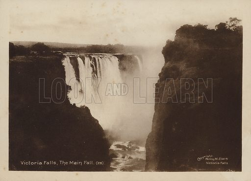Victoria Falls, The Main Fall. Illustration for Souvenir of The Victoria Falls by Percy M Clark with photographs by the author (c 1910),  Percy M Clark's autobiography was published in 1936.